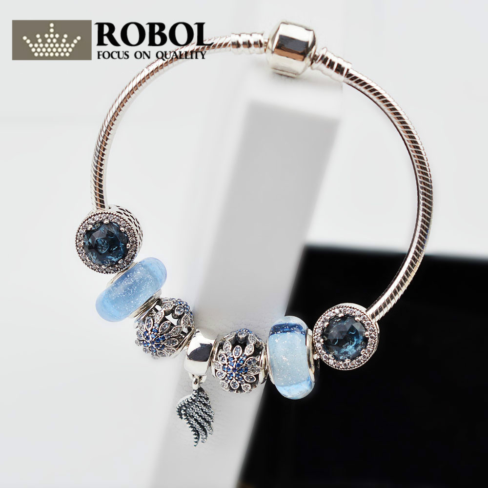 ROBOL 925 Sterling silver Summer Style European Charm Bracelet with Water Drops Sling Charm Bracelets for Women Gift