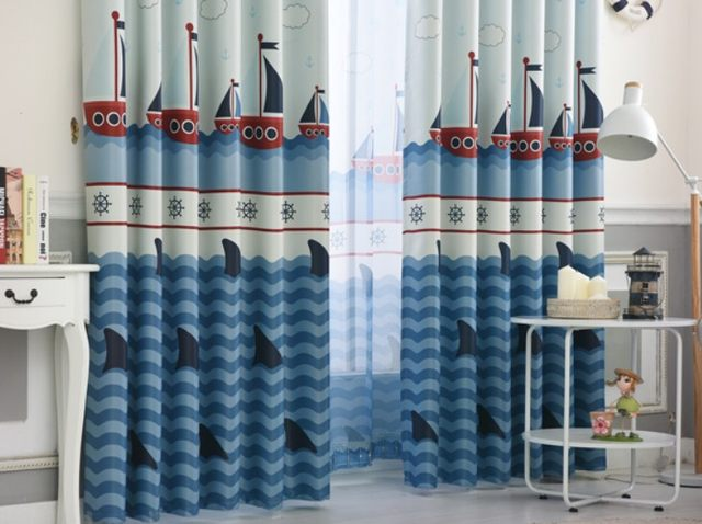 Blue Blackout Curtains For Boys Bedroom Ocean Sea Boat Helm Curtains For  Kids Living Room Window Curtains Blinds Tulle Sheer A17