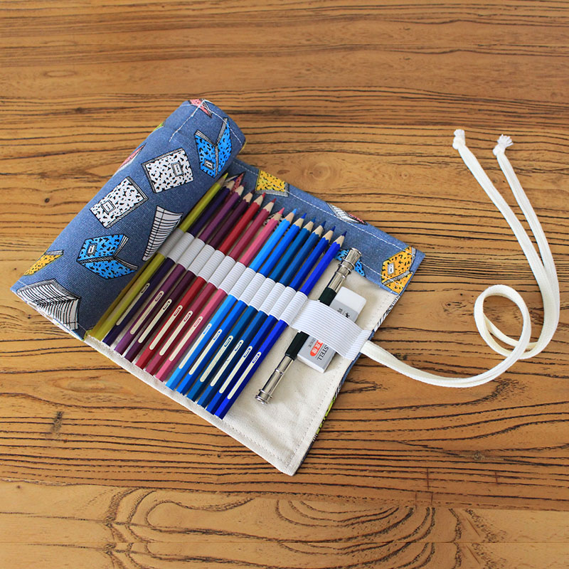 Roll Wrap Pencil Bag 36/48/72 School Pencil Case Canvas Round Pencil Pouch Makeup Cosmetic Brush Pen Storage Box Cute Stationary цена