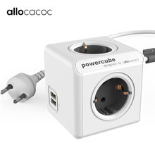 Allocacoc Eu Plug Slim Uitbreiding Stekkerdoos Stopcontact Powercube Kabel 3 M 2 Usb 5V 2.1A Charger Adapter 4 Outlets Thuis