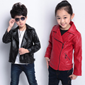 2016 spring and autumn medium-large boys child spring outerwear 3 5 7 8 9 11 13 female child short design PU leather jacket girl