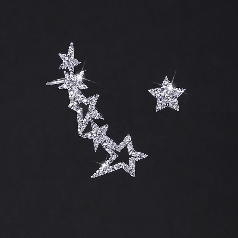 XIUMEIYIZU Fashion Luxury Asymmetrical Sparkling Cubic Zirconia Star Ear Wrap Crawler Climber Cuff Earrings for WomenXIUMEIYIZU Fashion Luxury Asymmetrical Sparkling Cubic Zirconia Star Ear Wrap Crawler Climber Cuff Earrings for Women