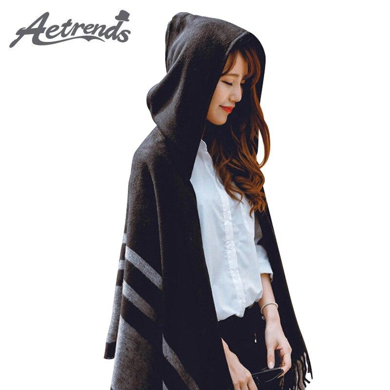 [AETRENDS] Women's Wool Feel Hooded Poncho With Hat Winter Scarves Black Beige Colors Z-2116