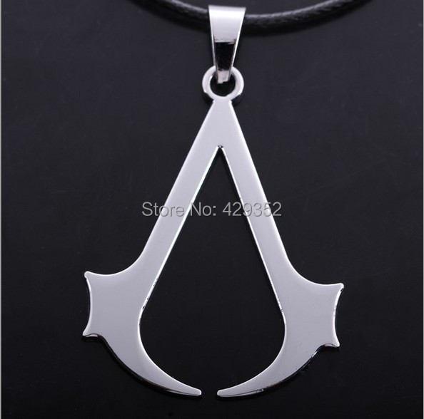 2014 HOT Cospaly Jewelry Assassins Creed Necklace Stainless Steel Pendant Necklage Gold/Silver For Men 24pcs/lot Wholesale