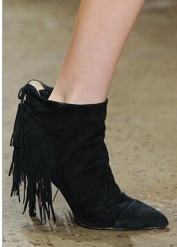 Luxury Brand Shoes Women Fringe Heeled Short Boots Pointed Toe Thin High Heels Botas Women Cross Strap Heeled Tassel Ankle Boots 2017 luxury handmade pointed toe ankle fringe tassel short boots high end designed men genuine leather suede boots