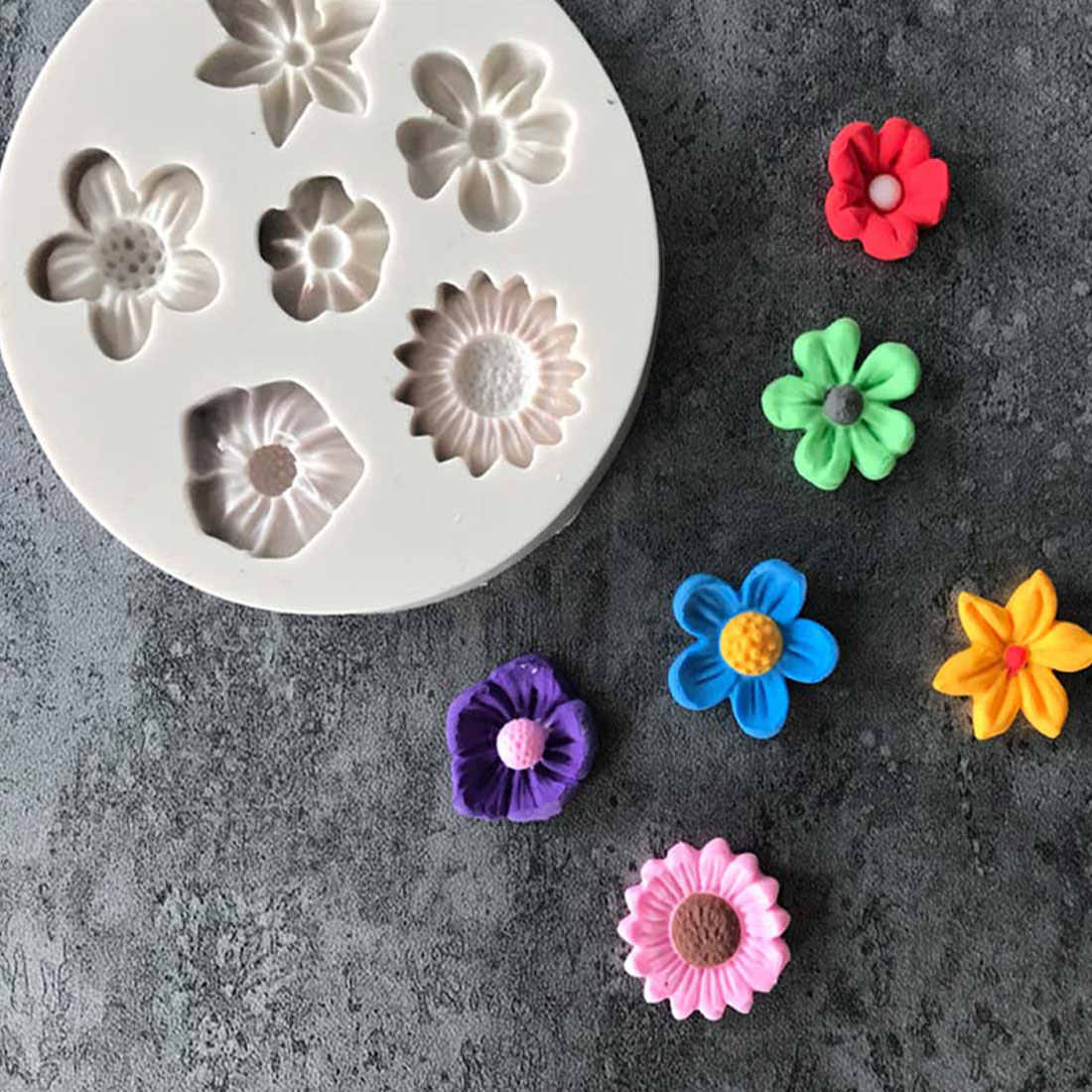 Fashion Nice 3D Flower Fondant Cake DIY Mold Silicone Mould Sugarcraft Decoration Baking Decorating Tools Kitchen Accessorie