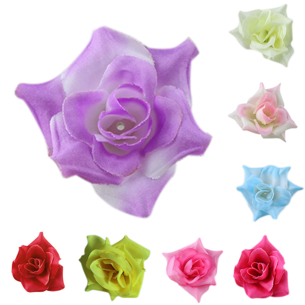 New Arrival 50Pcs Lot Various Artificial Silk Fake Rose Flower Heads Bulk Blossom Party Brooch Wedding Decor 8 Different Colors In Dried
