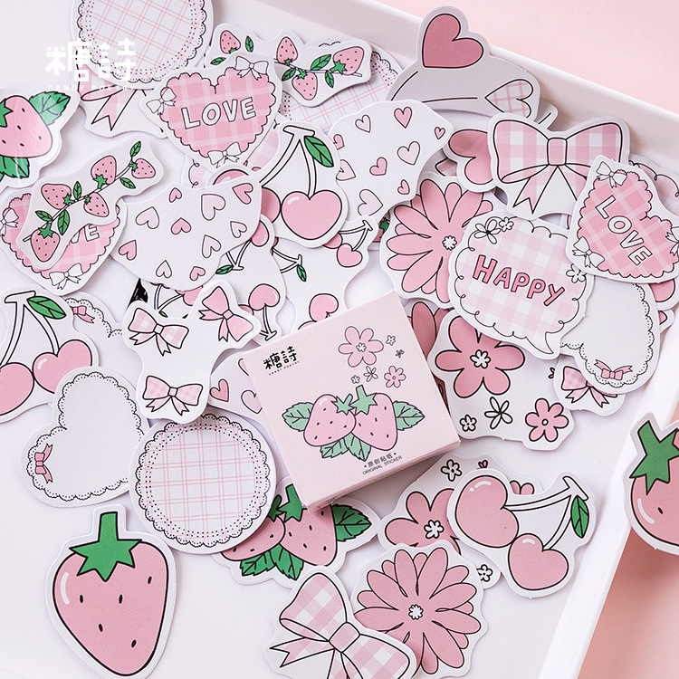 45pcs/pack Strawberry Flavoured Decorative Stationery Stickers Set Scrapbooking Diy Diary Album Stick Label