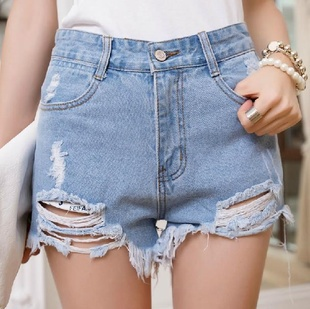New 2016 Irregular hole in the side whiskers, denim high waist pants shorts new summer fashion sexy white jeans women A1915
