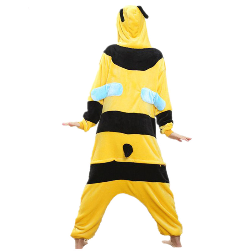Lovely Yellow Bee Pajamas For Adult Costume Party Festival Soft Women Flannel Onesie Cartoon Jumpsuit Kigurumi Winter Sleep Suit (4)