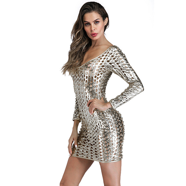 Sexy Women Long Sleeve Leather Dress Silver Gold Black Erotic Hole See  Through Bodycon Mini Short aacf7408b