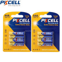 24pcs (4pcs/card*6) Super Heavy Duty AAA R03P 1.5V Dry battery alkaline battery aaa 1.5v   for radio, camera etc-PKCELL