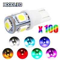 So.k 100Pcs T10 W5W LED Bulbs 5050 5 SMD 194 168 White Wedge Interior Side Clearance Light Indicator Reading Lamp Car Styling
