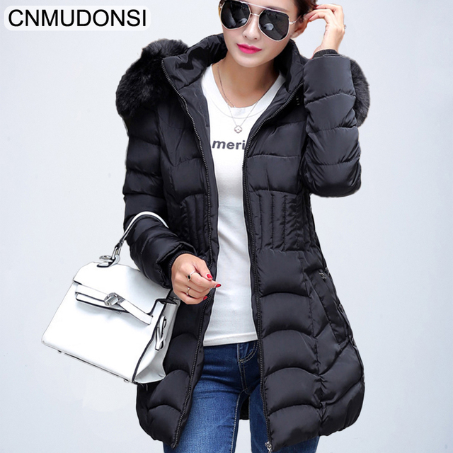 Special Price CNMUDONSI New Arrive Warm Parkas Long Sleeve Button Zipper Long Style Outwear Thick Winter Jacket Slim Fit Women Coat  Plus Size