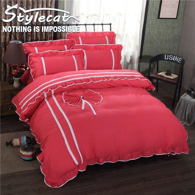 New Love Series Sheets Sets Bedding Set 4pcs Pink Rose Red Duvet Cover Bed  Sheet Set