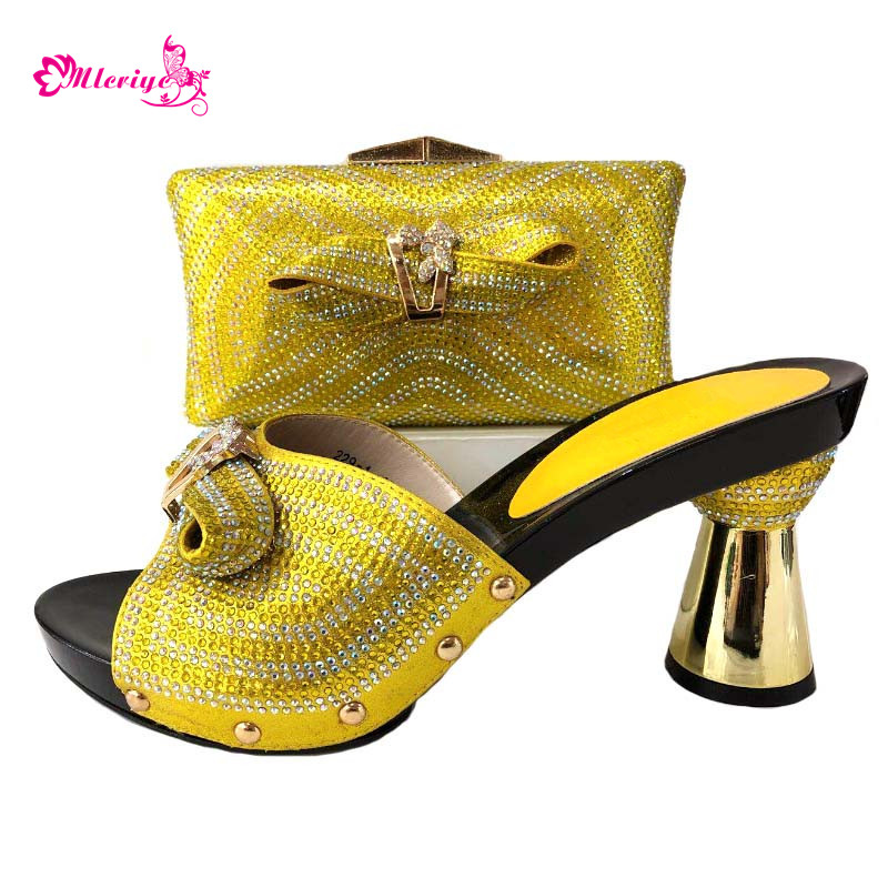 Latest Italian Matching Shoes and Bag Set for Party Women African Shoes and Bag Sets Decorated with Rhinestone Shoes and Bag Set latest orange color african matching shoes and bags italian in women italian ladies shoes and bag set decorated with rhinestone
