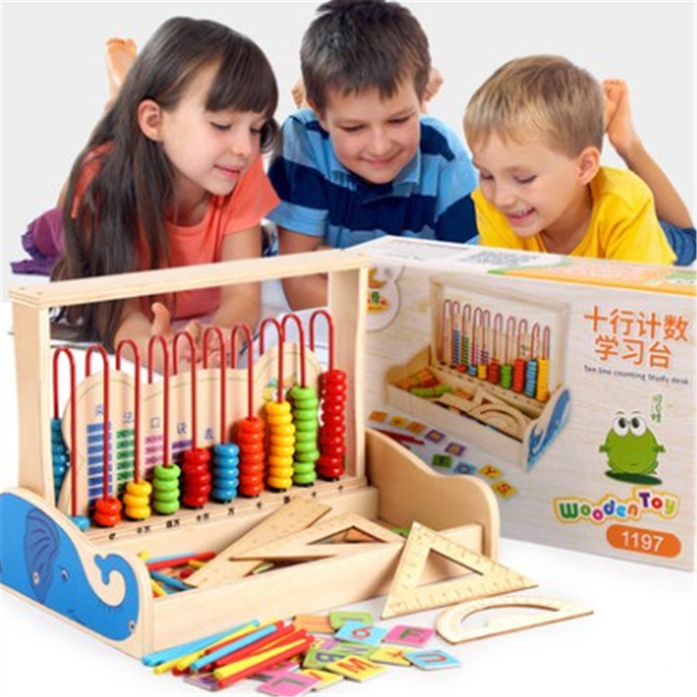 Ten Line Counting Study Desk Children Wooden Study Toy Math teaching AIDS Gift for Children 1pcs ds 982 ds982 semi auto glue dispenser pcb solder paste liquid controller dropper fluid dispenser 110v 220v