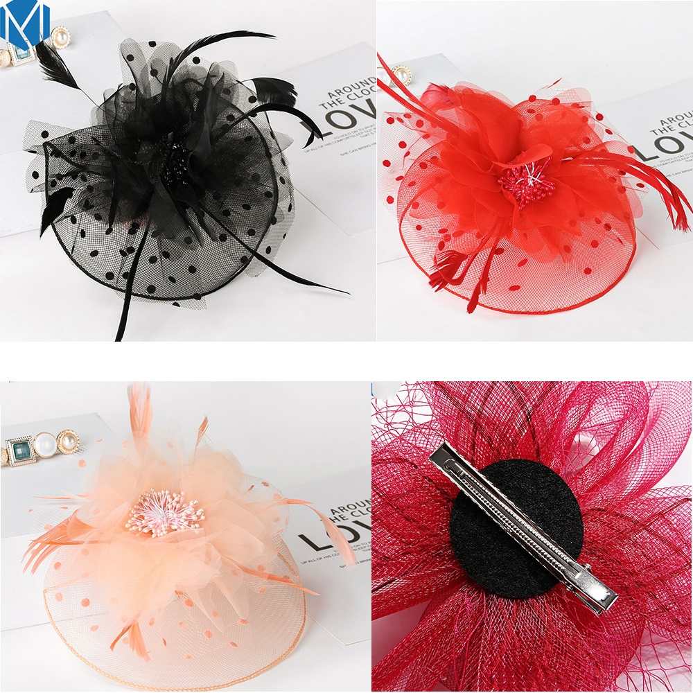 Cocktail Fascinator Mini Top Hat Red with Black Lace Trim and Red Fabric Rose