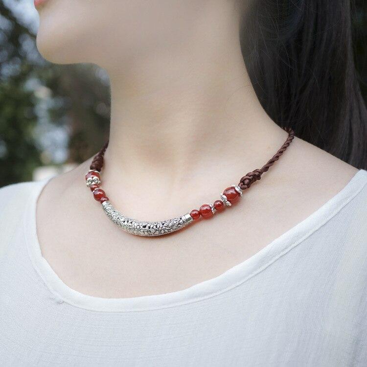 כסף טיבטי סטון קולר שרשרת תכשיטים אקזוטיים בעבודת יד טהורה, שרשרת כוכב גדולה רוח הסיני אתני חדש שחור