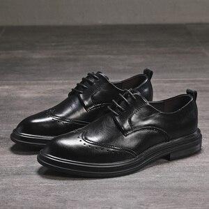Image 4 - Hommes en cuir microfibre faits à la main Oxfords à lacets 2019 sculpté hommes daffaires chaussures formelles, hommes chaussures habillées