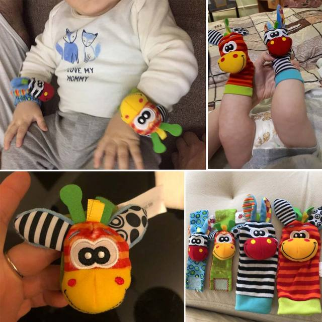 Cartoon Baby Speelgoed Pols Band Sokken Dier Pluche Rammelaars kinderen Speelgoed 0-12 Maanden Pasgeboren Voet Finder Sok pasgeboren Rammelaar 1