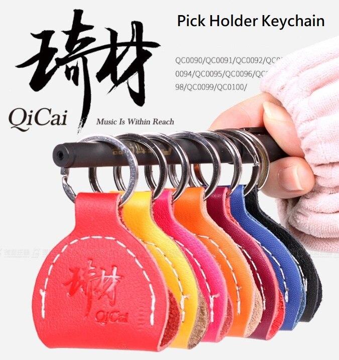 QiCai Guitarra cuero genuino Pick titular - Instrumentos musicales