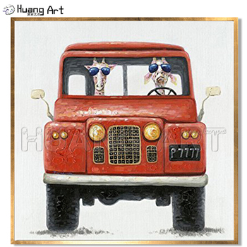 New Style Hand-painted High Quality Modern Animal Oil Painting for Room Decor Painting The Giraffe Drives a Red Car Funny Art