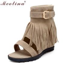 Meotina Botas de Tobillo Más El Tamaño 34-43 de Las Mujeres Del Verano Sandalia Señoras Fringe Zip Tacones Medianos Zapatos Crecientes Internos rojo