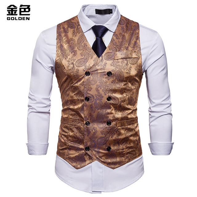 Men Double Breasted Dress Vests Chaleco Sleeveless Gilet Slim Printed  Sleeveless Waistcoat Men Suit Hombre For Party Wedding