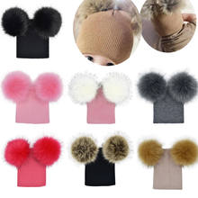 Kid Child Baby Boys Girls Beanie Hat Cap Winter Warm Double Fur Pom Bobble Kids Bobble Hat Knited Hat(China)