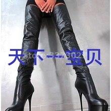 Женские высокие сапоги из черной кожи, модные женские ботфорты модные вечерние модельные туфли на платформе и каблуке в сдержанном стиле