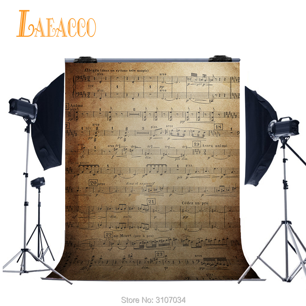Laeacco Music Scores Pattern Wall Baby Children Portrait Photography Backgrounds Custom Photographic Backdrops For Photo Studio image