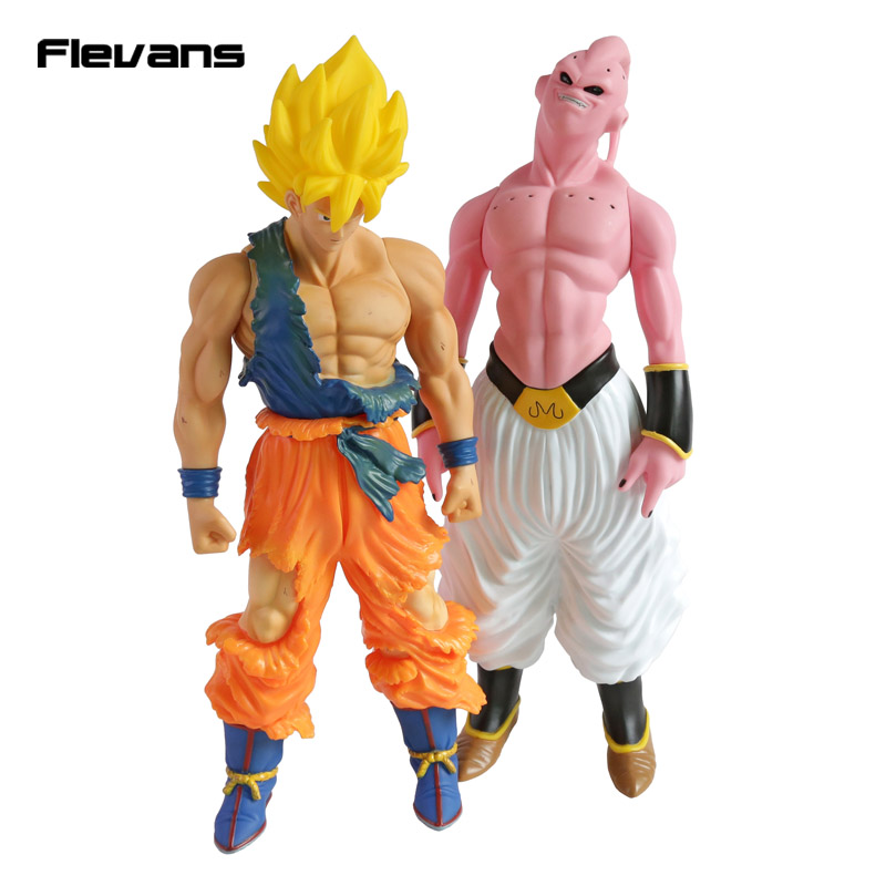 Dragon Ball Z Super Saiyan Son Goku Gokou / Majin Buu Super Big 43cm PVC Action Figure Collectible Model Toy genuine bandai exclusive tamashii nation 10th anniversary s h figuarts dragon ball z son gokou goku kaiohken ver action figure