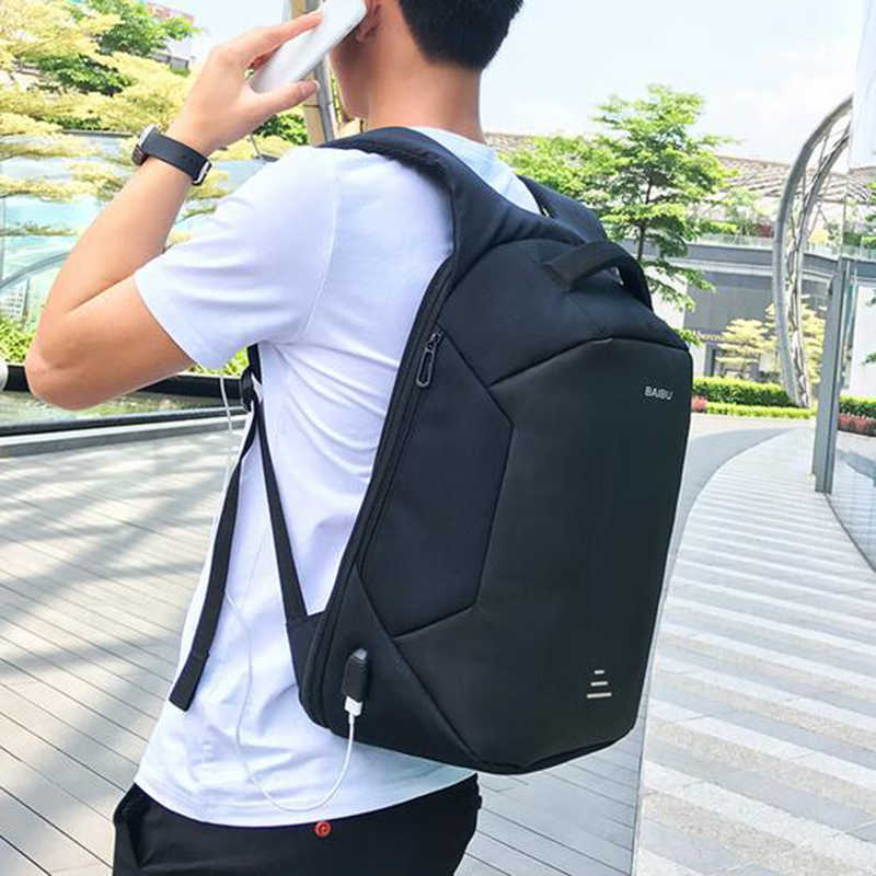 BAIBU nouveaux hommes 15.6 sac à dos pour ordinateur portable Anti-vol sac à dos Usb charge femmes école cahier sac Oxford étanche voyage sac à dos
