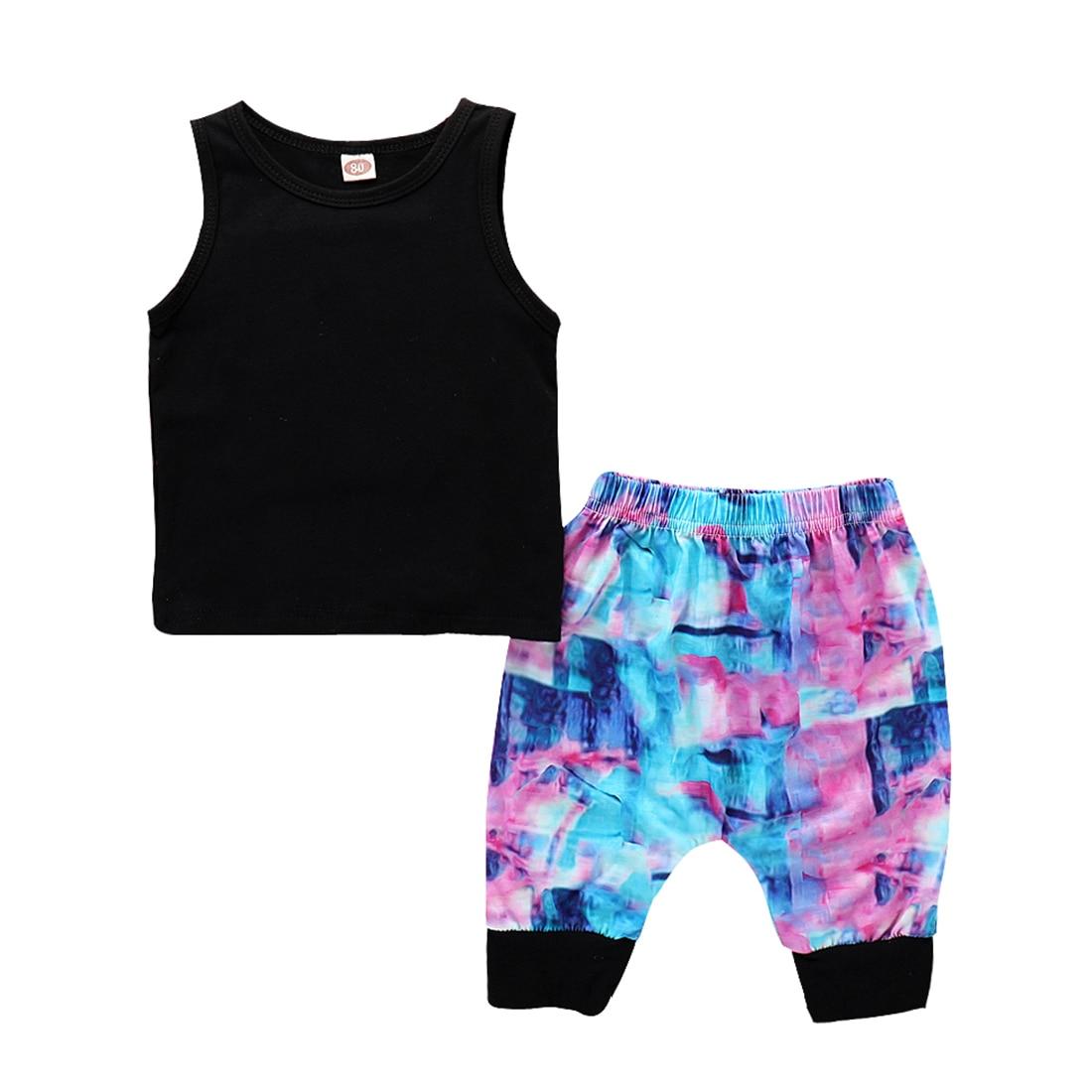 Straightforward Casual Daily Wear Children Party Sleeveless Boy Holiday Beach Set Vest+pants Kids Tanks Girls Vest