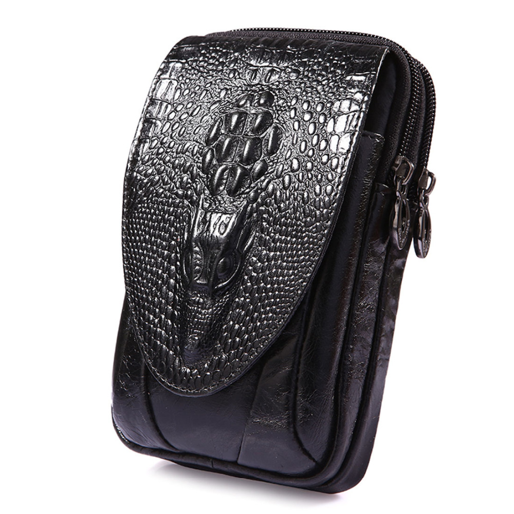 New Men Ægte Læder Real Crocodile Grain Cell / Mobiltelefon Cover Case Pocket Hip Bælte Bum Fanny Pack Talje Bag Far Gift