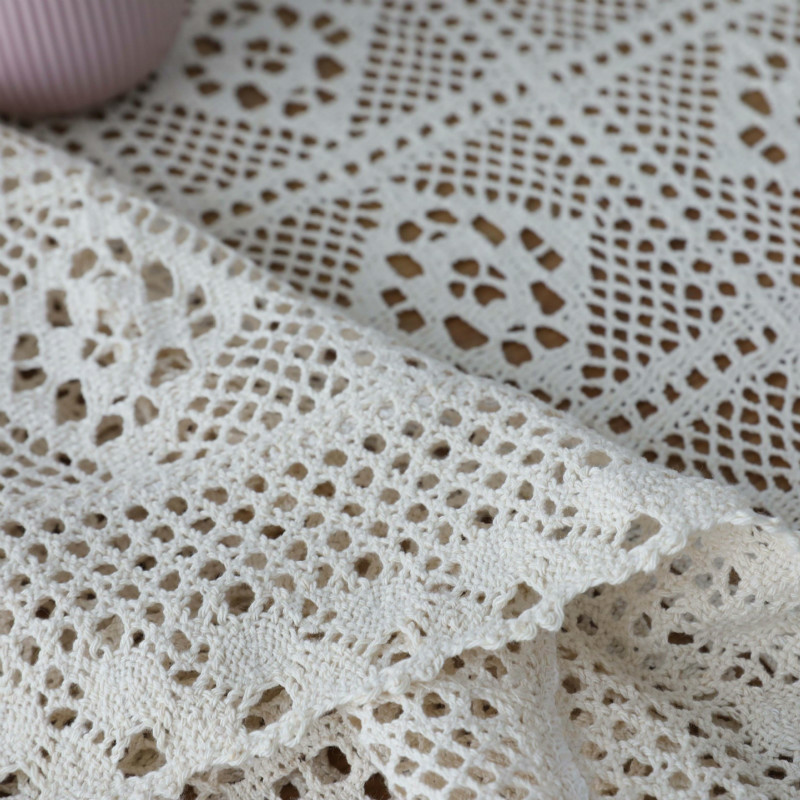 Beige Table Clothes For Wedding Rectangle Crochet Tables Cover