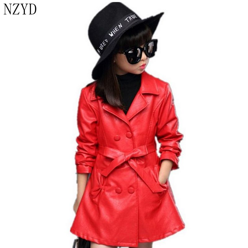 2017 New fashion Autumn Winter girl's Coat Long-sleeved Lapel Children Clothing Casual Comfort Girl Jacket 5-14 Years HL0532 2016 autumn winter fashion big lapel casual woman long style coat