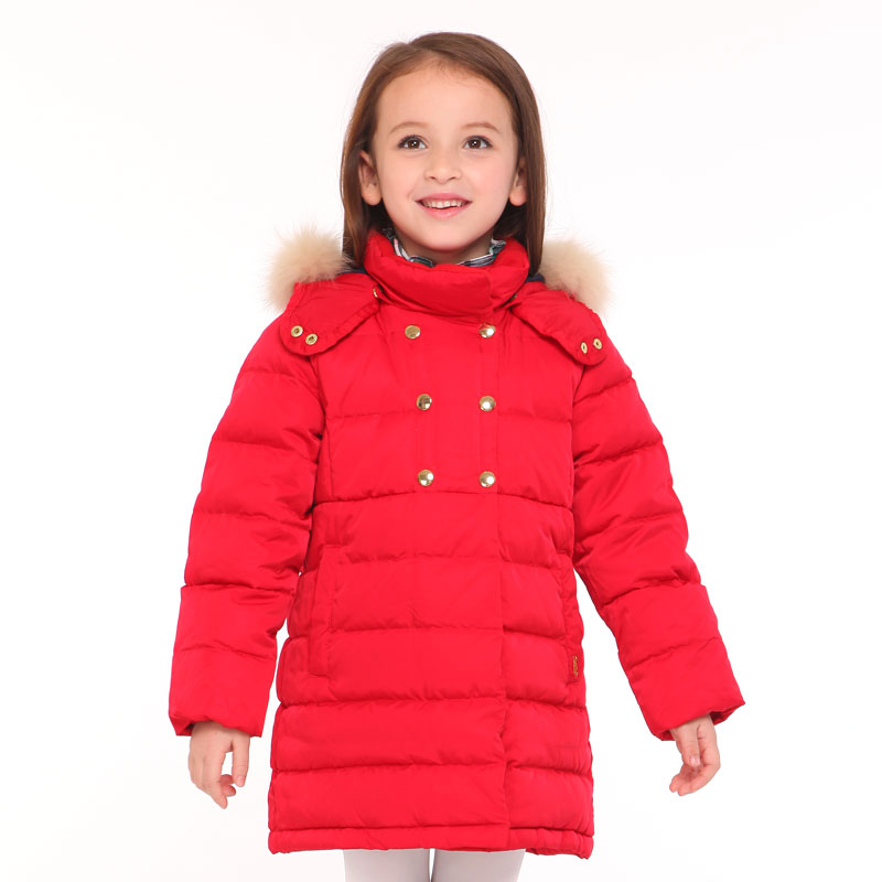 T100 0-6 Outerwear Girl Child Coat Jacket Red Long Children Winter Jackets For Girls Parkas Baby Duck Down Coat Warm Jackets