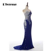 Abendkleider Sweetheart Mermaid Crystal Royal Blue Chiffon Long Evening Dresses Fashion Prom Dresses 2014
