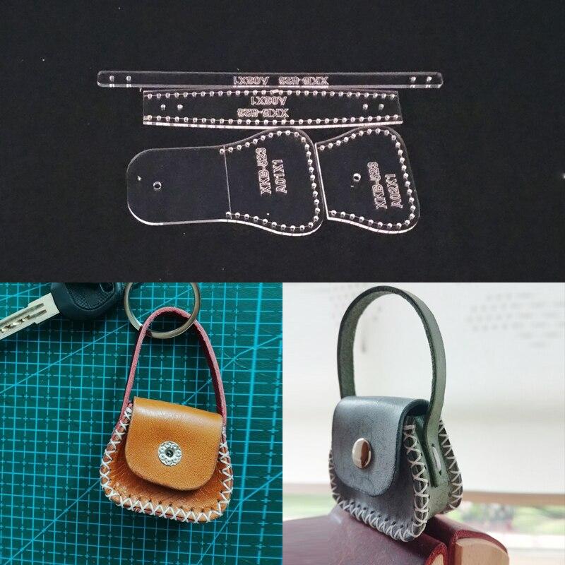 Acrylic Stencil Laser Cut Template DIY Leather Handmade Craft Mini Coin Purse Key Ring Pendant Sewing Pattern 45x55x20mm