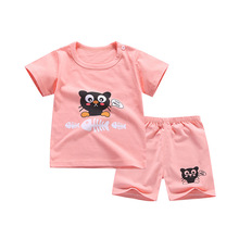 Childrens summer clothes new cotton baby short sleeve clothing set boys and girls body suit cartoon kids