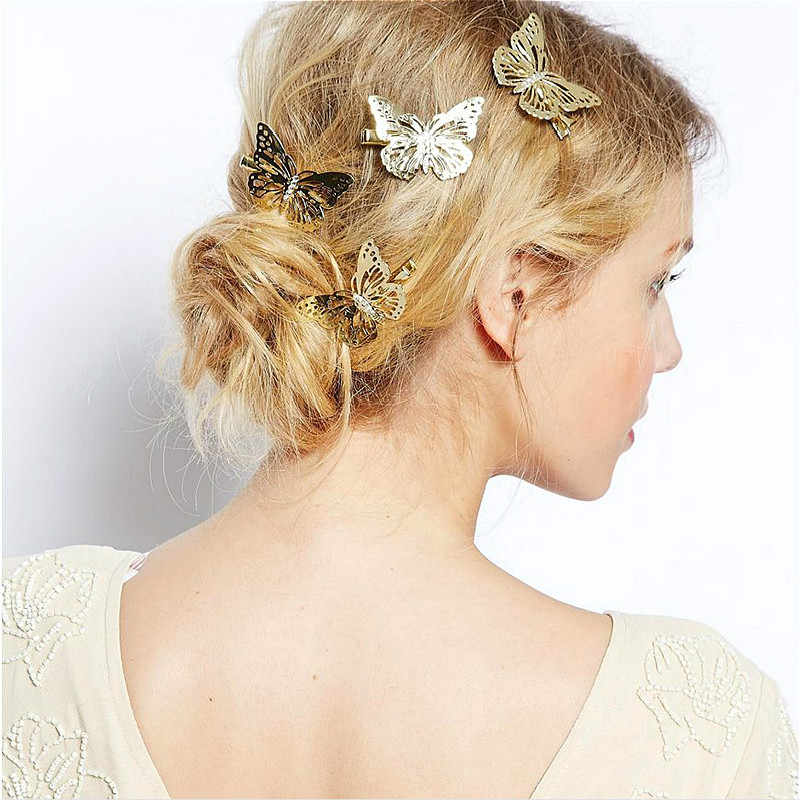 2019 Amazing Coming Gold Butterfly Hair Hair Accessories Clip Headband Hair Head Decoration Wedding Jewelry