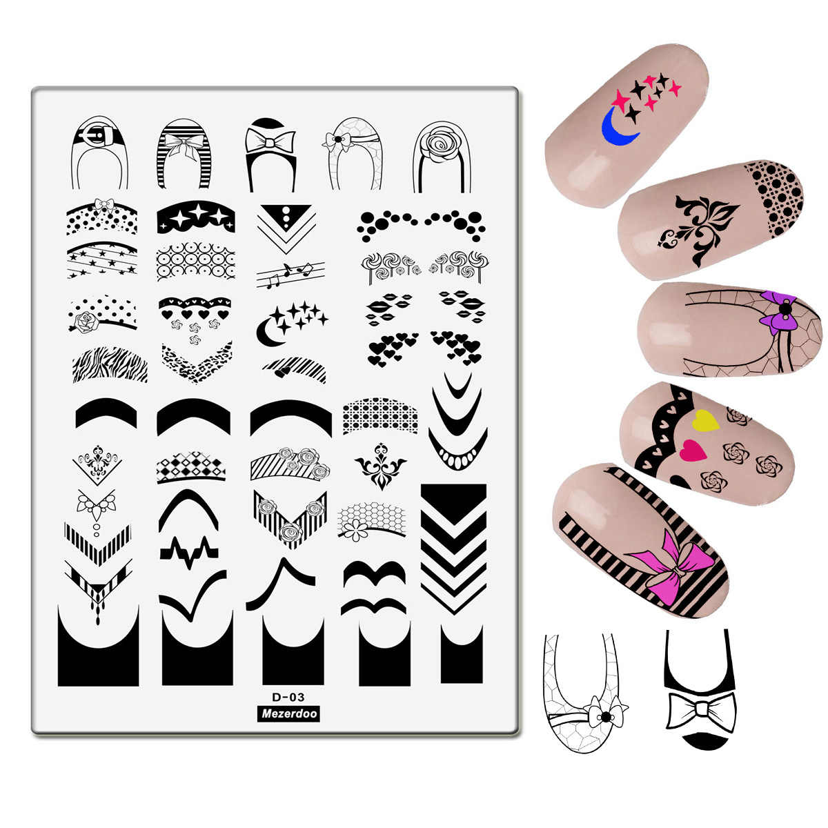 Creative Stripe Bowknot Shoes French Nail Image Plates Stamping Grid Design Diy Stencil 3d Nail Art Floral Large Size Templates