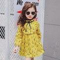 New Girls 2017 Long Sleeve Dress Baby Spring Dress Kids Print Dress Children Cotton Pattern Dress,2-7Y