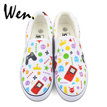 Wen Colorful Patterns Childlike Game Machine GamePad Original Hand Painted Shoes for Man Woman Canvas Sneakers Slip On
