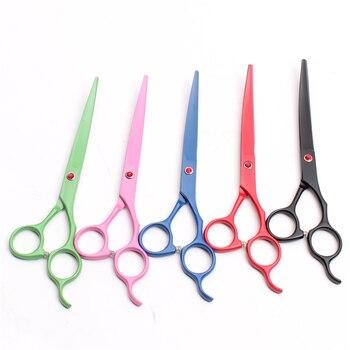 50 piezas C4100 7 19,5 cm venta al por mayor personalizar Logo 440C cortadores para perros doblados tijeras de corte mascotas profesionales tijeras de pelo