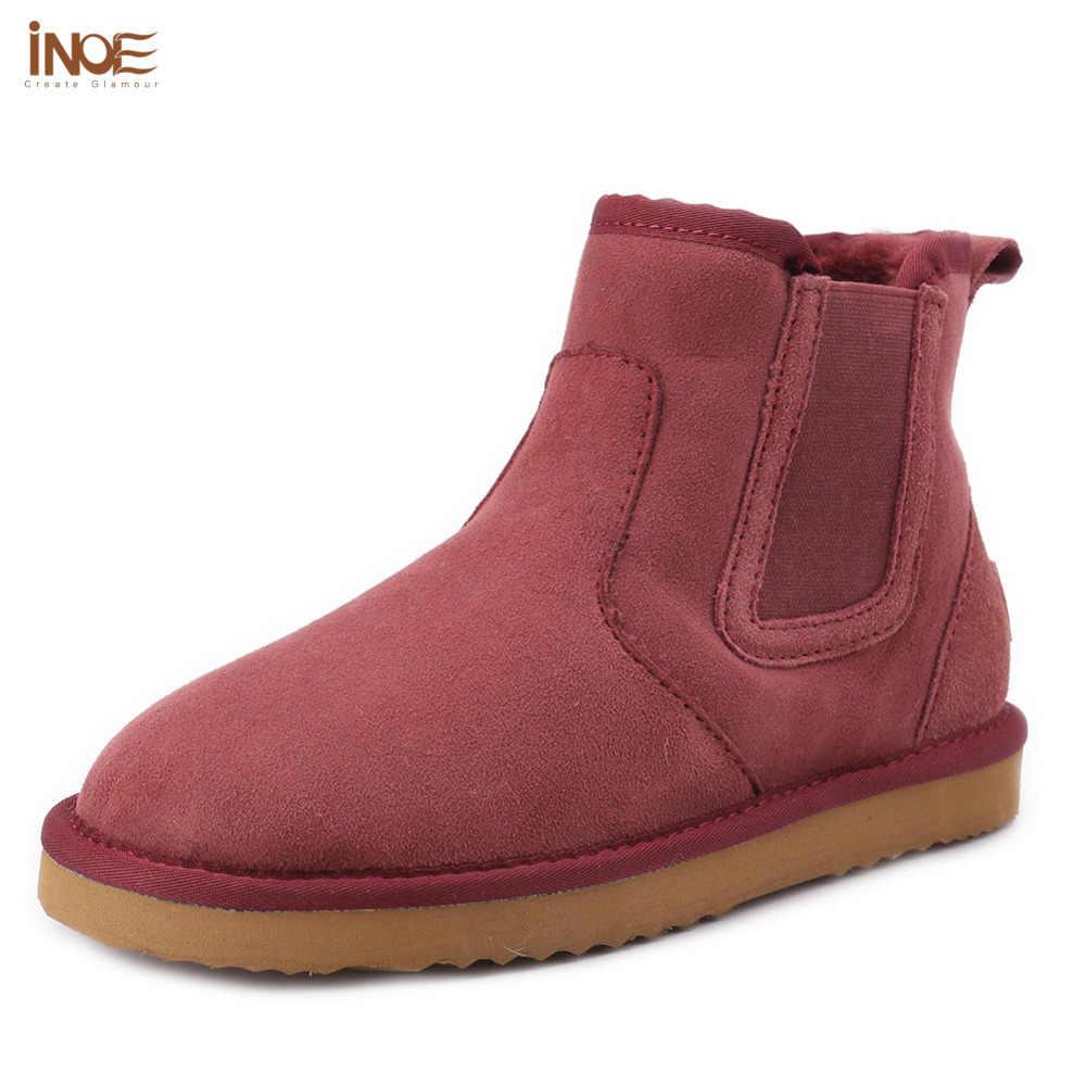 INOE thời trang ngắn da lộn mắt cá chân phụ nữ mùa đông tuyết khởi động chính hãng da cừu da lông thú tự nhiên lót giày mùa đông màu xanh nâu