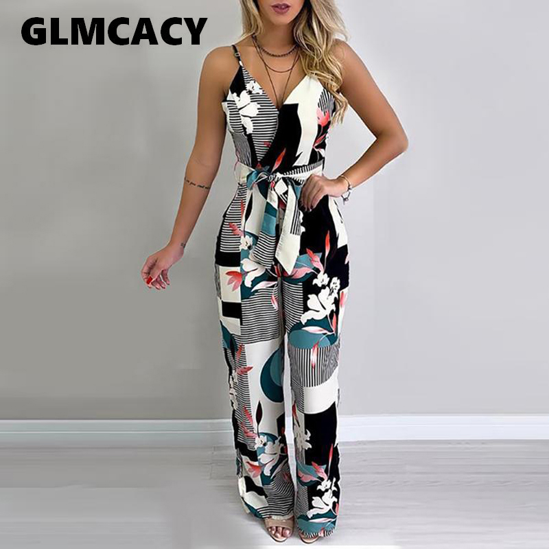 Women Sexy V-neck Spaghetti Strap Women Long   Jumpsuit   Bohemian Floral Print Wide Leg Overalls Summer Beachwear Casual   Jumpsuit
