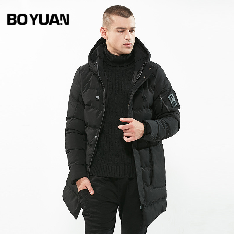 BOYUAN 2017 New Fashion Winter Jacket Men Hooded Parka Thick Warm Winter Male Jacket Solid Long Windbreaker Coats 3XL DSW-WZ84